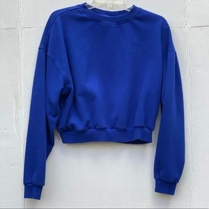Blue Cropped Crew Neck